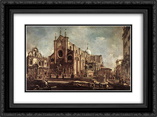 Campo Santi Giovanni e Paolo 24x18 Black or Gold Ornate Framed and Double Matted Art Print by Francesco Guardi