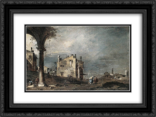 Capriccio with Venetian Motifs 24x18 Black or Gold Ornate Framed and Double Matted Art Print by Francesco Guardi