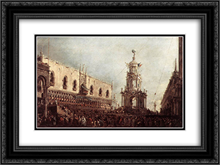 Carnival Thursday on the Piazzetta 24x18 Black or Gold Ornate Framed and Double Matted Art Print by Francesco Guardi