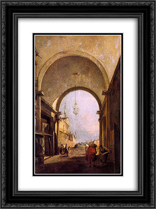 City View 18x24 Black or Gold Ornate Framed and Double Matted Art Print by Francesco Guardi