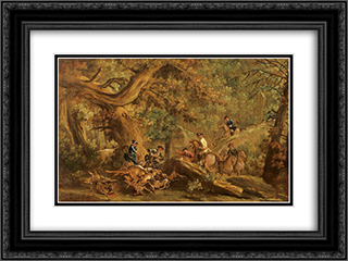 Deer hunting 24x18 Black or Gold Ornate Framed and Double Matted Art Print by Francesco Guardi