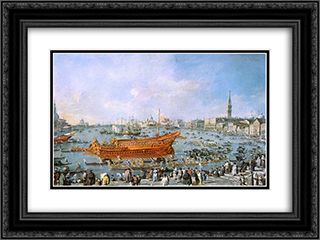 Departure of the Bucentaur Towards the Venice Lido on Ascension Day 24x18 Black or Gold Ornate Framed and Double Matted Art Print by Francesco Guardi