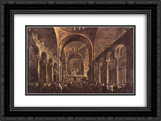 Doge Alvise IV Mocenigo Appears to the People in St. Mark's Basilica 24x18 Black or Gold Ornate Framed and Double Matted Art Print by Francesco Guardi