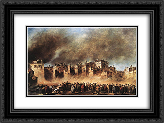 Fire in the Oil Depot at San Marcuola 24x18 Black or Gold Ornate Framed and Double Matted Art Print by Francesco Guardi