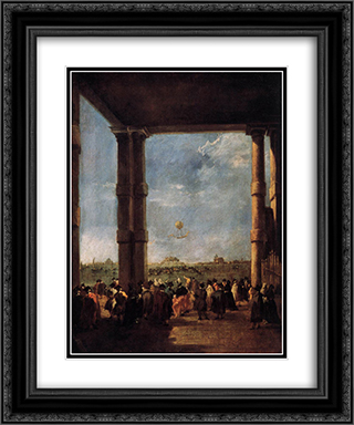 Hot Air Balloon Rising 20x24 Black or Gold Ornate Framed and Double Matted Art Print by Francesco Guardi