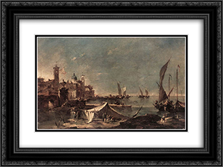 Landscape with a Fisherman's 24x18 Black or Gold Ornate Framed and Double Matted Art Print by Francesco Guardi