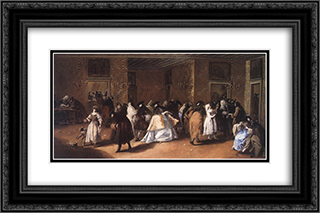 Masked Meeting 24x16 Black or Gold Ornate Framed and Double Matted Art Print by Francesco Guardi