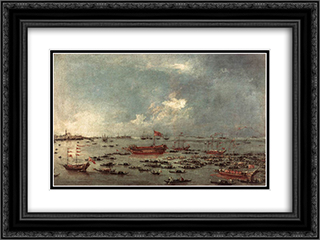 Outward Voyage of the Bucintoro to San Nicol del Lido 24x18 Black or Gold Ornate Framed and Double Matted Art Print by Francesco Guardi