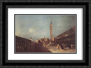 Piazza San Marco 24x18 Black or Gold Ornate Framed and Double Matted Art Print by Francesco Guardi