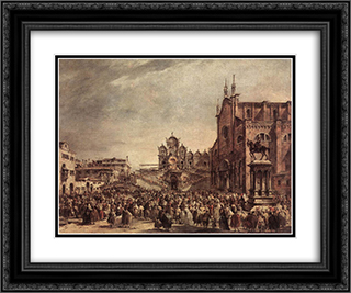 Pope Pius VI Blessing the People on Campo Santi Giovanni e Paolo 24x20 Black or Gold Ornate Framed and Double Matted Art Print by Francesco Guardi