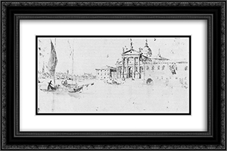 San Giorgio Maggiore 24x16 Black or Gold Ornate Framed and Double Matted Art Print by Francesco Guardi