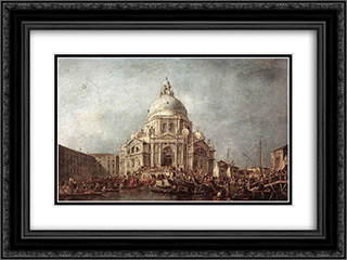 The Doge at the Basilica of La Salute 24x18 Black or Gold Ornate Framed and Double Matted Art Print by Francesco Guardi