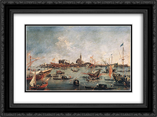 The Doge on the Bucentaur at San Niccol del Lido 24x18 Black or Gold Ornate Framed and Double Matted Art Print by Francesco Guardi