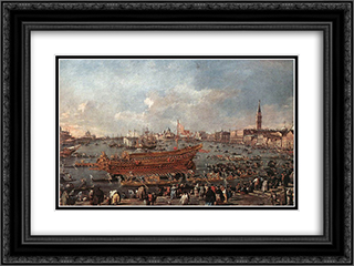 The Doge on the Bucintoro near the Riva di Sant'Elena 24x18 Black or Gold Ornate Framed and Double Matted Art Print by Francesco Guardi
