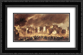 The Fire at San Marcuola 24x16 Black or Gold Ornate Framed and Double Matted Art Print by Francesco Guardi