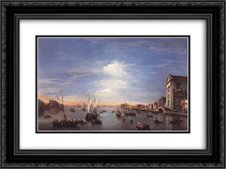The Giudecca Canal with the Zattere 24x18 Black or Gold Ornate Framed and Double Matted Art Print by Francesco Guardi