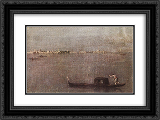 The Gondola on the Lagoon 24x18 Black or Gold Ornate Framed and Double Matted Art Print by Francesco Guardi