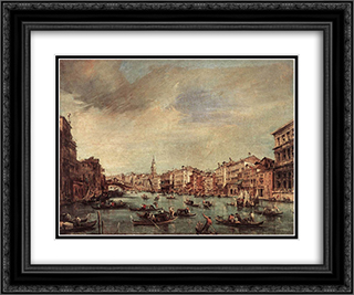The Grand Canal, Looking toward the Rialto Bridge 24x20 Black or Gold Ornate Framed and Double Matted Art Print by Francesco Guardi