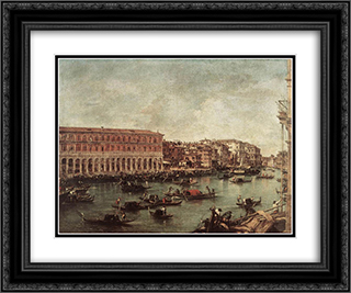 The Grand Canal at the Fish Market (Pescheria) 24x20 Black or Gold Ornate Framed and Double Matted Art Print by Francesco Guardi