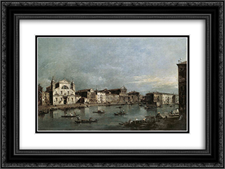 The Grand Canal with Santa Lucia and the Scalzi 24x18 Black or Gold Ornate Framed and Double Matted Art Print by Francesco Guardi