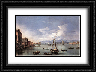 The Lagoon from the Fondamenta Nuove 24x18 Black or Gold Ornate Framed and Double Matted Art Print by Francesco Guardi