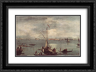 The Lagoon with Boats, Gondolas, and Rafts 24x18 Black or Gold Ornate Framed and Double Matted Art Print by Francesco Guardi