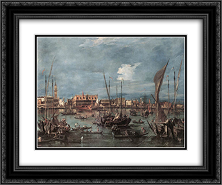 The Molo and the Riva degli Schiavoni from the Bacino di San Marco 24x20 Black or Gold Ornate Framed and Double Matted Art Print by Francesco Guardi
