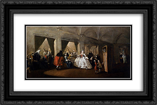 The Parlour of the San Zaccaria Convent 24x16 Black or Gold Ornate Framed and Double Matted Art Print by Francesco Guardi
