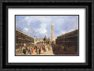 The Piazza San Marco towards the Basilica 24x18 Black or Gold Ornate Framed and Double Matted Art Print by Francesco Guardi