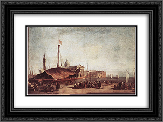 The Piazzetta, Looking toward San Giorgio Maggiore 24x18 Black or Gold Ornate Framed and Double Matted Art Print by Francesco Guardi