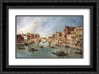 The Three Arched Bridge at Cannaregio 24x18 Black or Gold Ornate Framed and Double Matted Art Print by Francesco Guardi