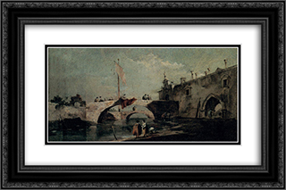 Town with a Bridge 24x16 Black or Gold Ornate Framed and Double Matted Art Print by Francesco Guardi
