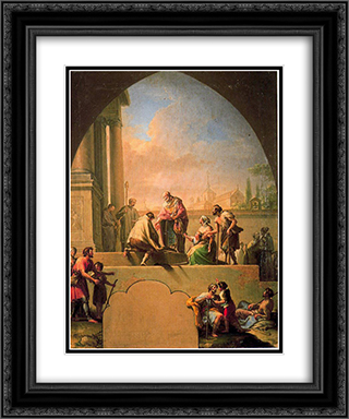Charity of Saint Elladius of Toledo 20x24 Black or Gold Ornate Framed and Double Matted Art Print by Francisco Bayeu y Subias