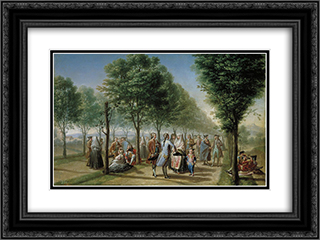 El paseo de las Delicias, en Madrid 24x18 Black or Gold Ornate Framed and Double Matted Art Print by Francisco Bayeu y Subias