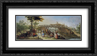 El puente del canal de Madrid 24x14 Black or Gold Ornate Framed and Double Matted Art Print by Francisco Bayeu y Subias