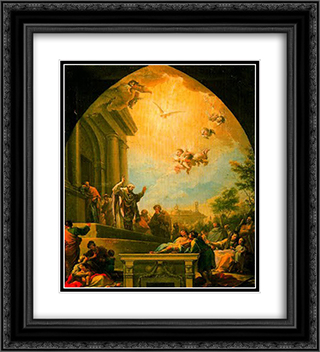 La predicacion de San Eugenio 20x22 Black or Gold Ornate Framed and Double Matted Art Print by Francisco Bayeu y Subias