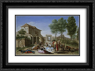 Merienda en el campo 24x18 Black or Gold Ornate Framed and Double Matted Art Print by Francisco Bayeu y Subias