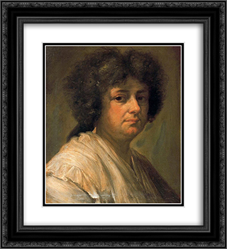 Retrato de Sebastiana Merclein, su mujer 20x22 Black or Gold Ornate Framed and Double Matted Art Print by Francisco Bayeu y Subias