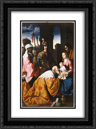 Adoration of the Magi 18x24 Black or Gold Ornate Framed and Double Matted Art Print by Francisco de Zurbaran
