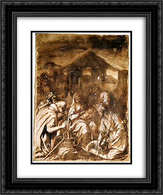 Adoration of the Shepherds 20x24 Black or Gold Ornate Framed and Double Matted Art Print by Francisco de Zurbaran
