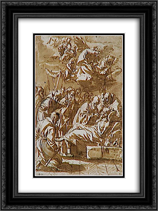 Death of a religious 18x24 Black or Gold Ornate Framed and Double Matted Art Print by Francisco de Zurbaran