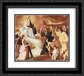 Flagellation of St. Jerome by the angels 22x20 Black or Gold Ornate Framed and Double Matted Art Print by Francisco de Zurbaran