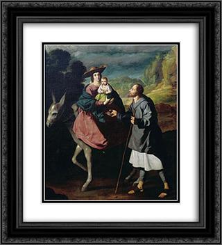Flight into Egypt 20x22 Black or Gold Ornate Framed and Double Matted Art Print by Francisco de Zurbaran