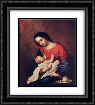 Madonna with Child 20x22 Black or Gold Ornate Framed and Double Matted Art Print by Francisco de Zurbaran
