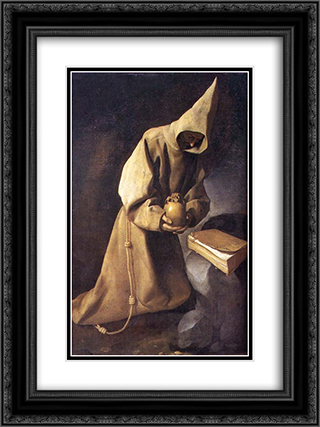 Meditation of St. Francis 18x24 Black or Gold Ornate Framed and Double Matted Art Print by Francisco de Zurbaran