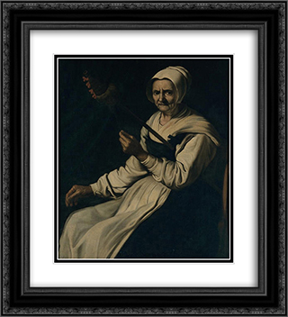 Old woman spinning 20x22 Black or Gold Ornate Framed and Double Matted Art Print by Francisco de Zurbaran