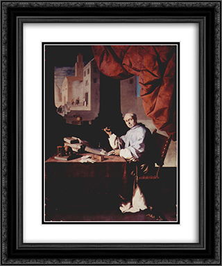 Portrait of Fra Gonzalo de Illescas 20x24 Black or Gold Ornate Framed and Double Matted Art Print by Francisco de Zurbaran