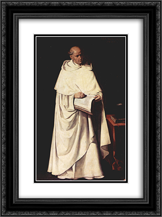 Portrait of Fra Zumel Francisco 18x24 Black or Gold Ornate Framed and Double Matted Art Print by Francisco de Zurbaran