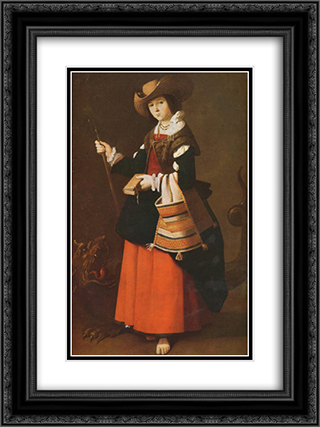 Saint Margaret, dressed as a shepherdess 18x24 Black or Gold Ornate Framed and Double Matted Art Print by Francisco de Zurbaran
