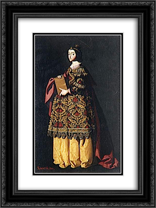 Saint Mathilda 18x24 Black or Gold Ornate Framed and Double Matted Art Print by Francisco de Zurbaran